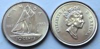 Канада. 10 центов. 1992. 125 лет Конфедерации. Парусник. UNC