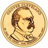 США. 1 доллар. Президенты. №24. 2012. Grover Cleveland / Гровер Кливленд (2й срок). D. UNC