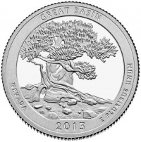 США. 25 центов(квотер). Парки. №18. 2013. Great Basin National Park. P. UNC