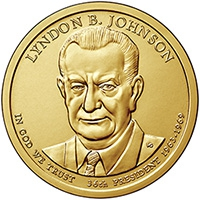 США. 1 доллар. Президенты. №36. 2015. Lyndon Johnson / Линдон Джонсон. D. UNC