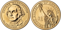 США. 1 доллар. Президенты. №01. 2007. George Washington / Джордж Вашингтон. D. UNC