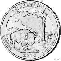 США. 25 центов(квотер). Парки. №02. 2010. Yellowstone National Park. P. UNC