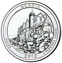 США. 25 центов(квотер). Парки. №13. 2012. Acadia National Park, Maine. S. UNC