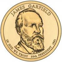 США. 1 доллар. Президенты. №20. 2011. James A. Garfield / Джеймс Гарфилд. D. UNC