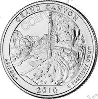 США. 25 центов(квотер). Парки. №04. 2010. Grand Canyon National Park. D. UNC