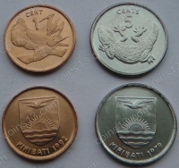 Кирибати. Набор. 2 монеты. 1 и 5 центов. Животные. UNC