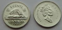 Канада. 5 центов. 2000. Бобр. Животные. UNC