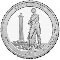 США. 25 центов(квотер). Парки. №17. 2013. Perry's Victory and International Peace Memorial. D. UNC