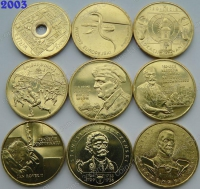 Польша. 2 злотых. 2003. Полный годовой набор. 9 монет. UNC