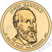 США. 1 доллар. Президенты. №20. 2011. James A. Garfield / Джеймс Гарфилд. P. UNC