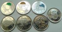 Канада. 25 центов. 2011. Набор. 6 монет. Бизон,Кит,Сапсан (цветные+нецветные). UNC