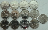 Канада. 1992. 25 центов. Провинции и Территории Канады. 12 монет. UNC