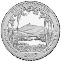 США. 25 центов(квотер). Парки. №16. 2013. White Mountain National Forest. S. UNC