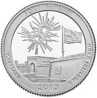 США. 25 центов(квотер). Парки. №19. 2013. Fort McHenry National Monument and Historic Shrine. S. UNC