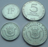 Бурунди. Набор. 2 монеты. 1 и 5 франков. UNC