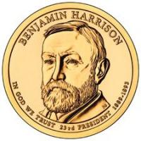 США. 1 доллар. Президенты. №23. 2012. Benjamin Harrison / Бенджамин Гаррисон. P. UNC