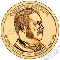 США. 1 доллар. Президенты. №21. 2012. Chester A. Arthur / Честер Артур. P. UNC