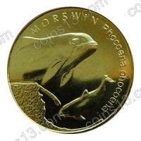 Польша. 2004. 2 злотых. #064. Морская свинья, Phocoena phocoena [животный мир]