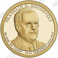 США. 1 доллар. Президенты. №32. 2014. Franklin Roosevelt / Франклин Рузвельт. P. UNC