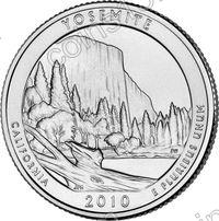США. 25 центов(квотер). Парки. №03. 2010. Yosemite National Park. D. UNC