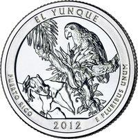 США. 25 центов(квотер). Парки. №11. 2012. El Yunque National Forest. S. UNC