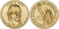 США. 1 доллар. Президенты. №11. 2009. James K. Polk / Джеймс Полк. D. UNC