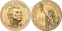 США. 1 доллар. Президенты. №05. 2008. James Monroe / Джеймс Монро. D. UNC