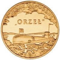 """Польша. 2012. 2 злотых. #238. Подводная лодка """"Орёл"""" [корабли]"""