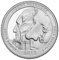США. 25 центов(квотер). Парки. №20. 2013. Mount Rushmore National Memorial. D. UNC