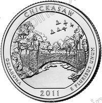 США. 25 центов(квотер). Парки. №10. 2011. Chickasaw National Recreation Area. D. UNC