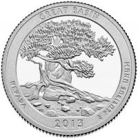 США. 25 центов(квотер). Парки. №18. 2013. Great Basin National Park. D. UNC