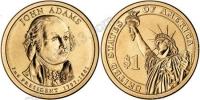 США. 1 доллар. Президенты. №02. 2007. John Adams / Джон Адамс. P. UNC