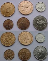 Гернси. Набор. 6 монет. Старый тип. Животные. UNC