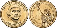 США. 1 доллар. Президенты. №03. 2007. Thomas Jefferson / Томас Джефферсон. P. UNC