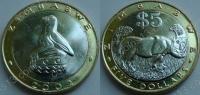 Зимбабве. 5 долларов. 2002. Животные. Биметалл. UNC