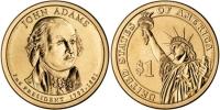 США. 1 доллар. Президенты. №02. 2007. John Adams / Джон Адамс. D. UNC