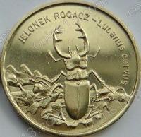 Польша. 1997. 2 злотых. #012. Жук-олень. Lucanus Cervus [животный мир]