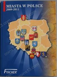 """Польша. Набор """"Города Польши"""" в альбоме Fisher. 2009-2011. 15 монет. UNC"""