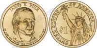США. 1 доллар. Президенты. №11. 2009. James K. Polk / Джеймс Полк. P. UNC