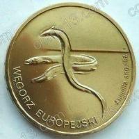 Польша. 2003. 2 злотых. #056. Европейский угорь, Anguilla anguilla [животный мир]