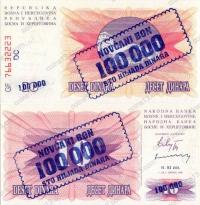 Босния и Герцеговина. 1993. 100000 динаров. UNC / пресс