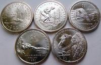 США. 1 доллар. Сакагавея. 9 видов монет. 2000,2009,2010,2011,2012,2013,2014,2015,2016. UNC