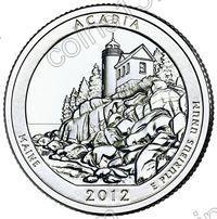 США. 25 центов(квотер). Парки. №13. 2012. Acadia National Park, Maine. D. UNC