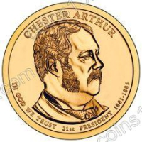 США. 1 доллар. Президенты. №21. 2012. Chester A. Arthur / Честер Артур. D. UNC