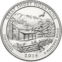 США. 25 центов(квотер). Парки. №21. 2014. Great Smoky Mountains National Park. D. UNC
