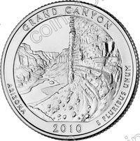 США. 25 центов(квотер). Парки. №04. 2010. Grand Canyon National Park. P. UNC