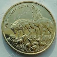 Польша. 1999. 2 злотых. #024. Волк Wilk, Canis lupus [животный мир]