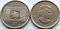 Канада. 25 центов. 2015. 50 летие флага Канады. UNC
