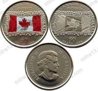 Канада. 25 центов. 2015. Набор. 50 летие флага Канады. Цветная + нецветная. 2 монеты. UNC