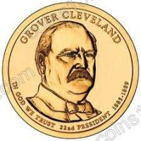 США. 1 доллар. Президенты. №22. 2012. Grover Cleveland / Гровер Кливленд (1й срок). P. UNC